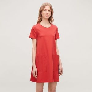 COS bright red-orange A-line pocketed shirt dress
